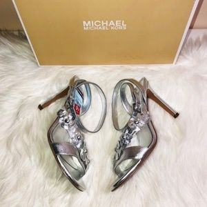 Michael Kors Silver High Heel Sandals 5.5
